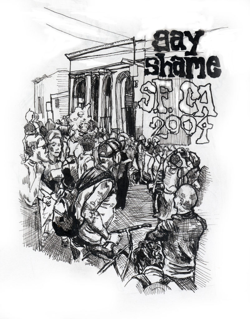 """drawing of a group of people in the street with prominent text reading """"gay shame s.f. ca 2004"""""""