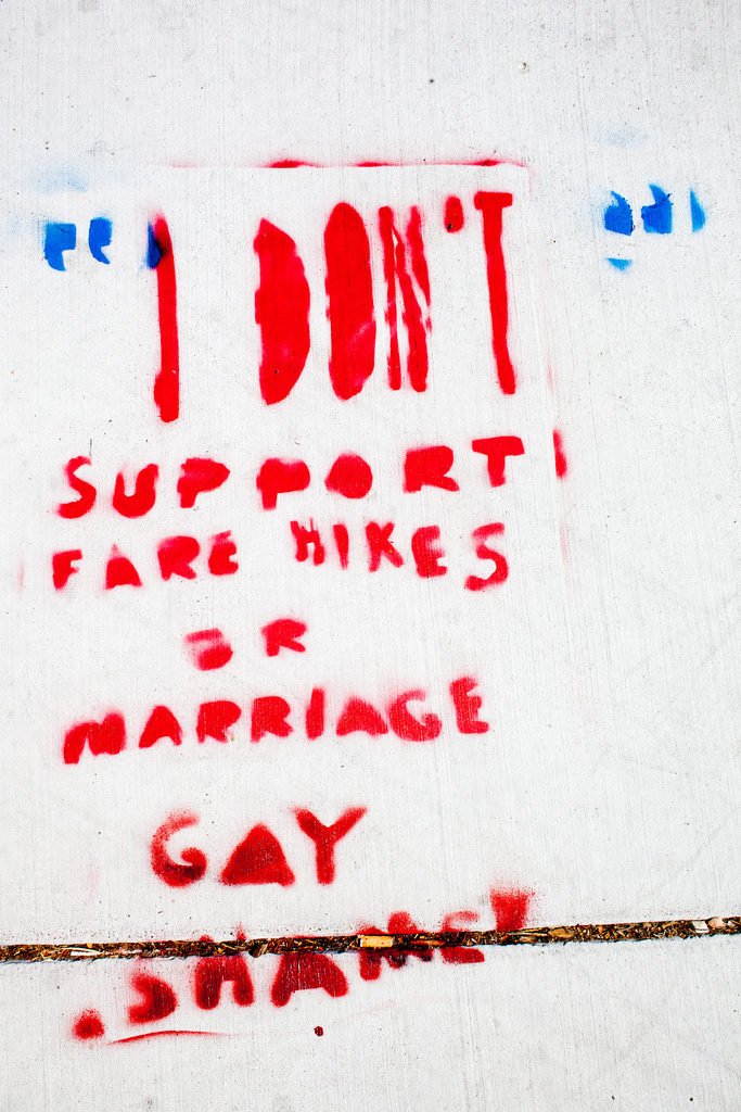 """I DON'T"" support fare hikes or marriage -- gay shame"