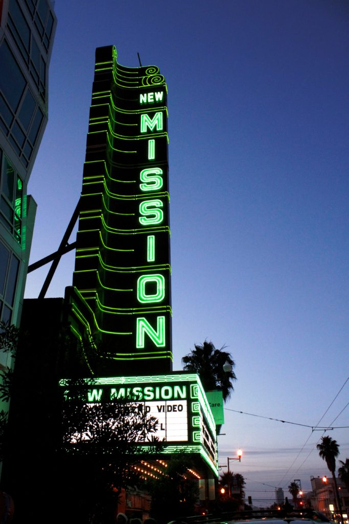 shot of the new new mission marquee as the sunsets