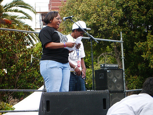 kimma walker and terrain dandrige onstage at the san francisco dyke march