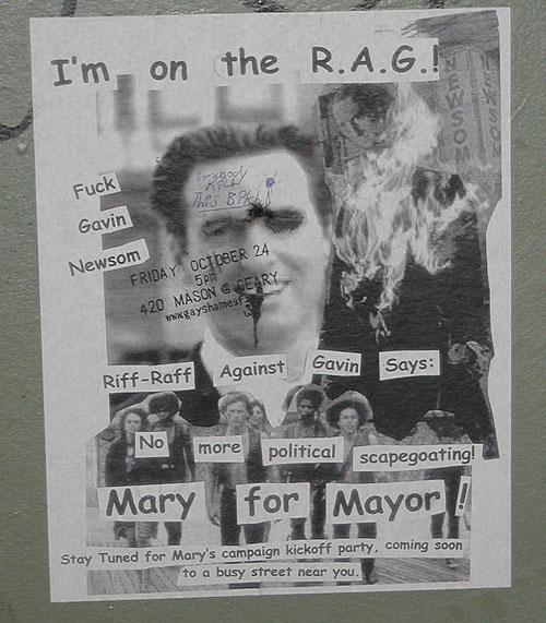 a pro-mary 4 mayor flyer by riff-raff against gavin