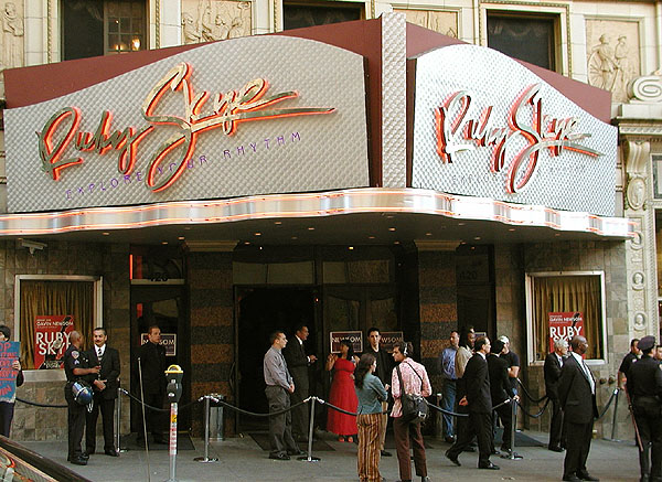 wide shot of ruby skye's tacky and dated cursive marquee