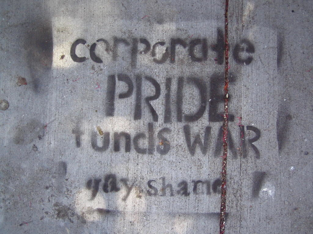 corporate pride funds war -- gay shame