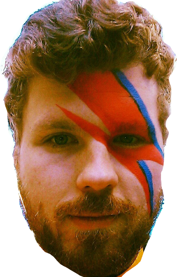 a picture of alan clark done up like david bowie from the *aladdin sane* album cover