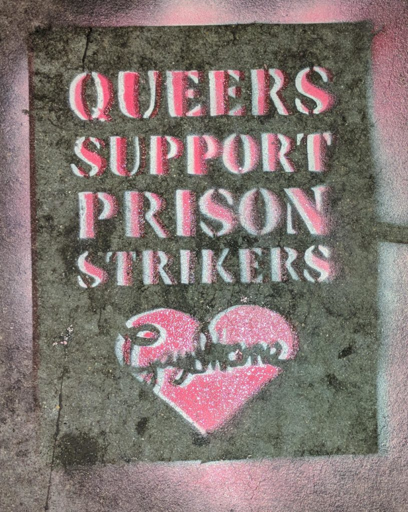 """queers support prison strikers"" -- gay shame"