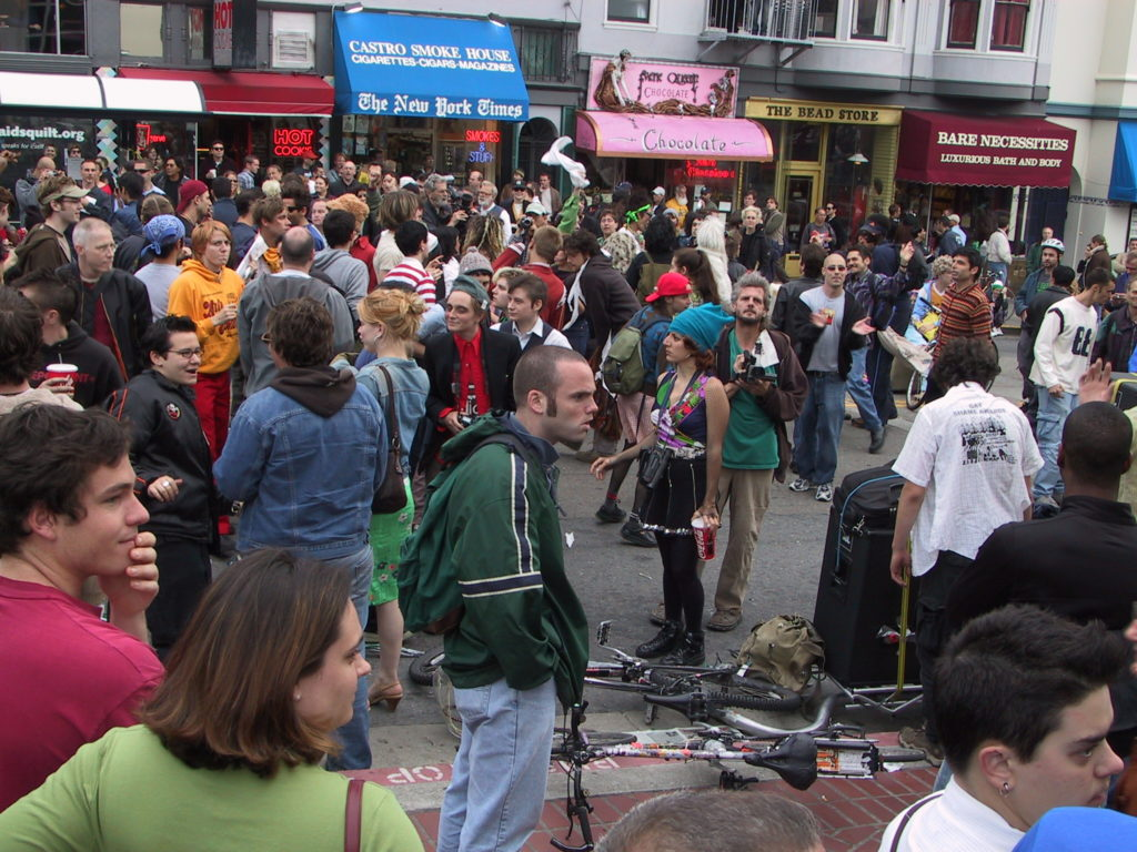 crowd fills the street at castro and market after the awards ceremony