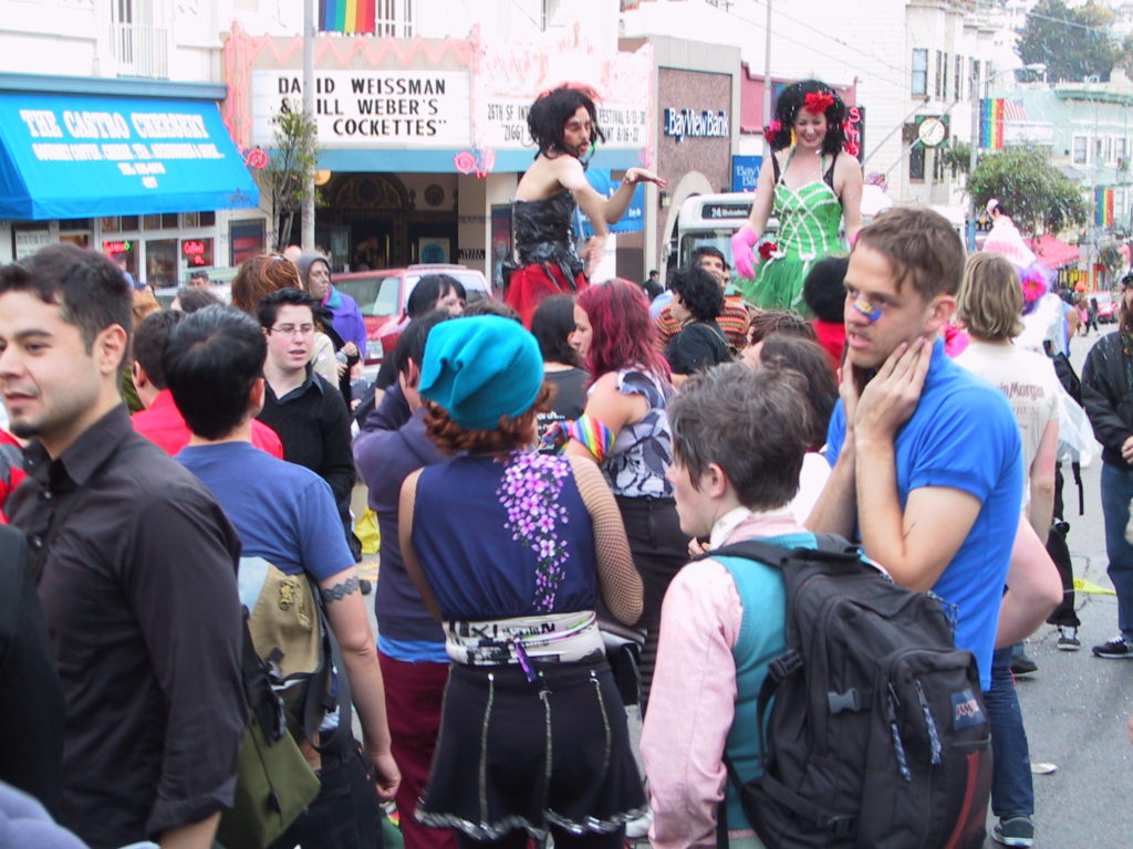 the dance party continues to rage in the middle of castro street