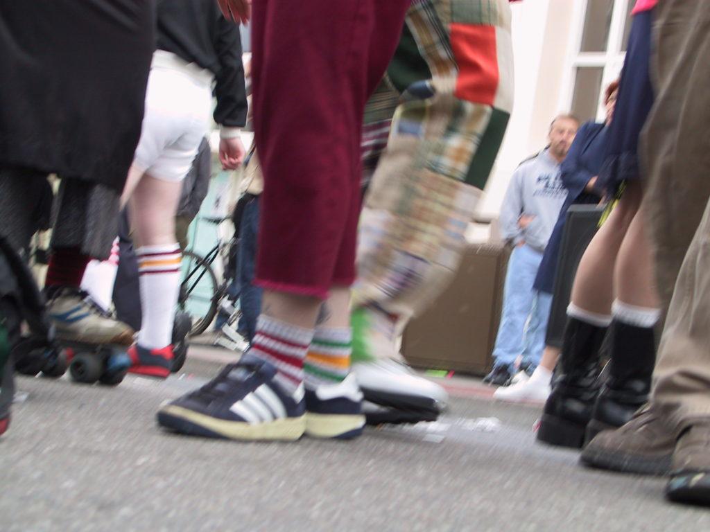 detail of reveler's footwear