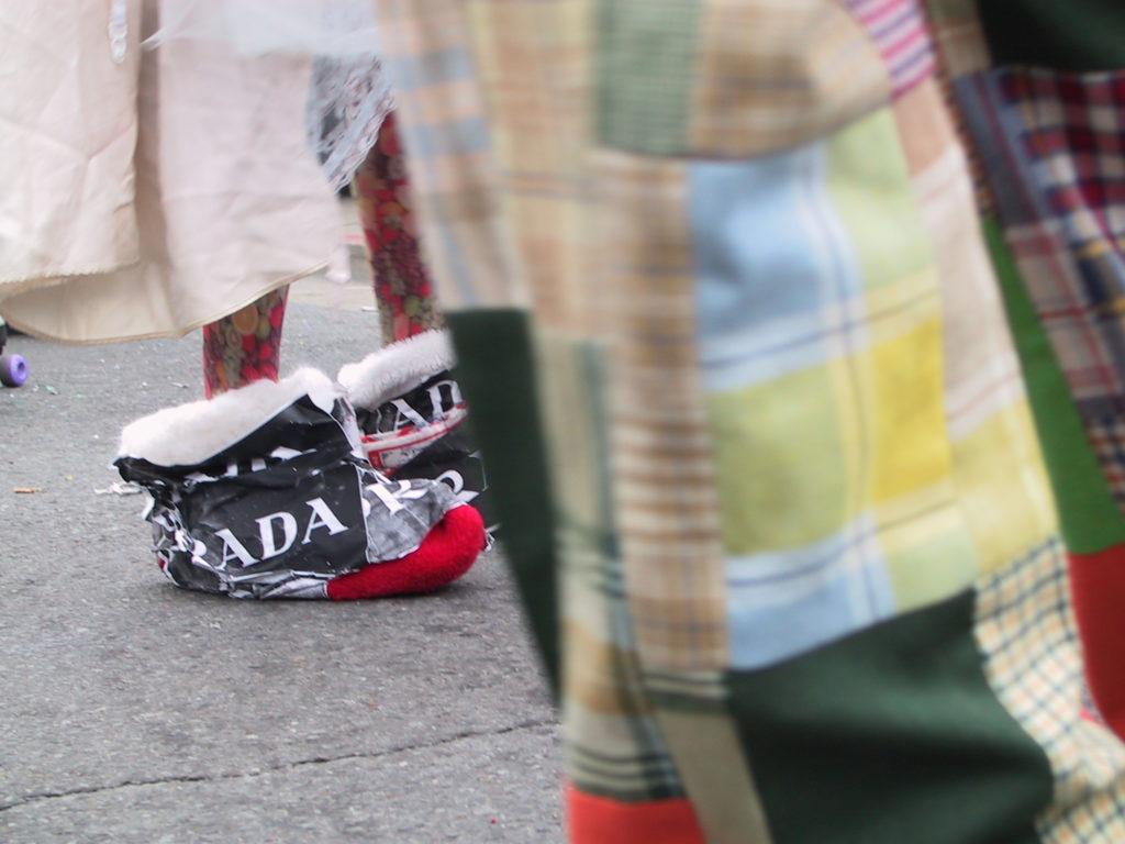 detail of revelers' footwear