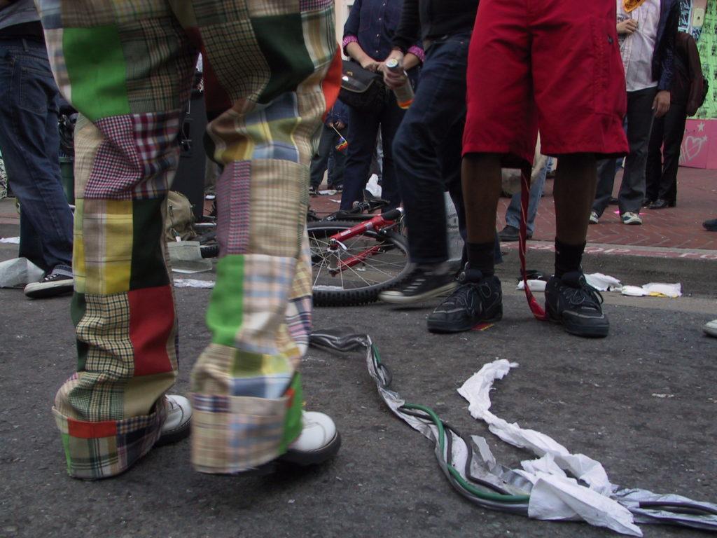 detail of people's footwear on castro street