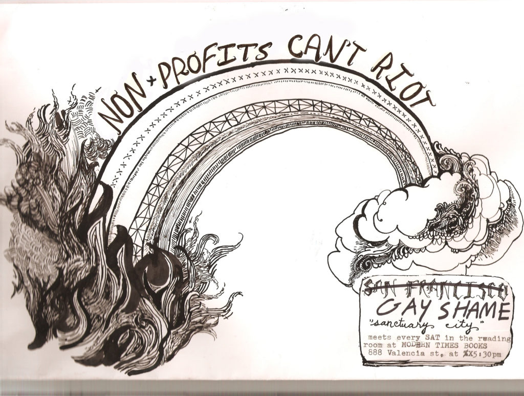 drawing of a rainbow on fire with the words 'non-profits can't riot' above it, coming out of a cloud with outdated gay shame meeting details.