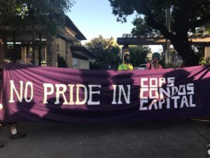 """no pride in cops condos and capital"" banner"