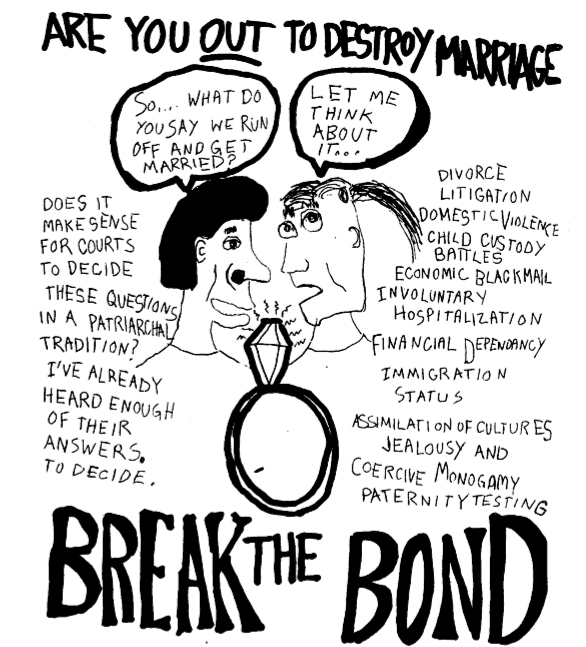"two people talking over a wedding ring with alternate thought balloons: ""so... what do you say when you run off and get married?"" ""let me think about it..."" above the pair there is a headline that reads: ""are you out to destroy marriage?"" and ""break the bond"" and additional text that reads: ""does it make sense for courts to decide these questions in a patriarchal tradition? i've already heard enough of their answers to decide."" ""divorce litigation -- domestic violence -- child custody battles -- economic blackmail -- involuntary hosptialization -- financial dependency -- immigration status -- assimilation of cultures -- jealousy and coercive monogamy -- paternity testing"""