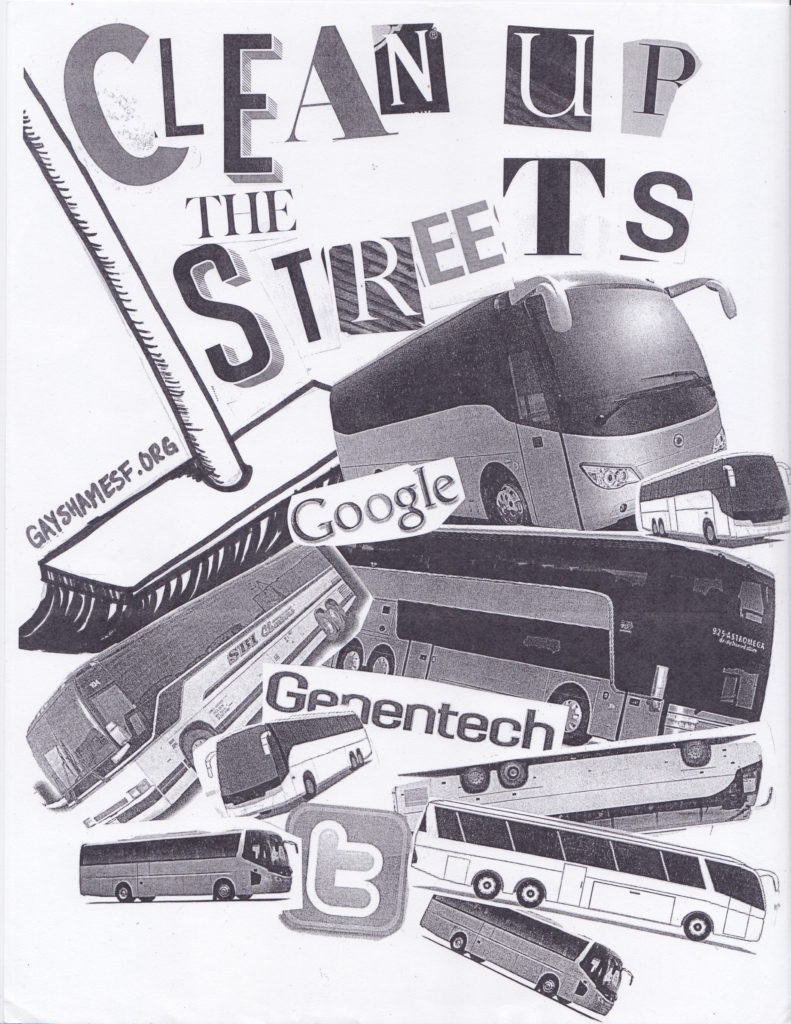 "an image of tech buses being swept by a giant broom ""clean up the streets"" -- gayshamesf.org"