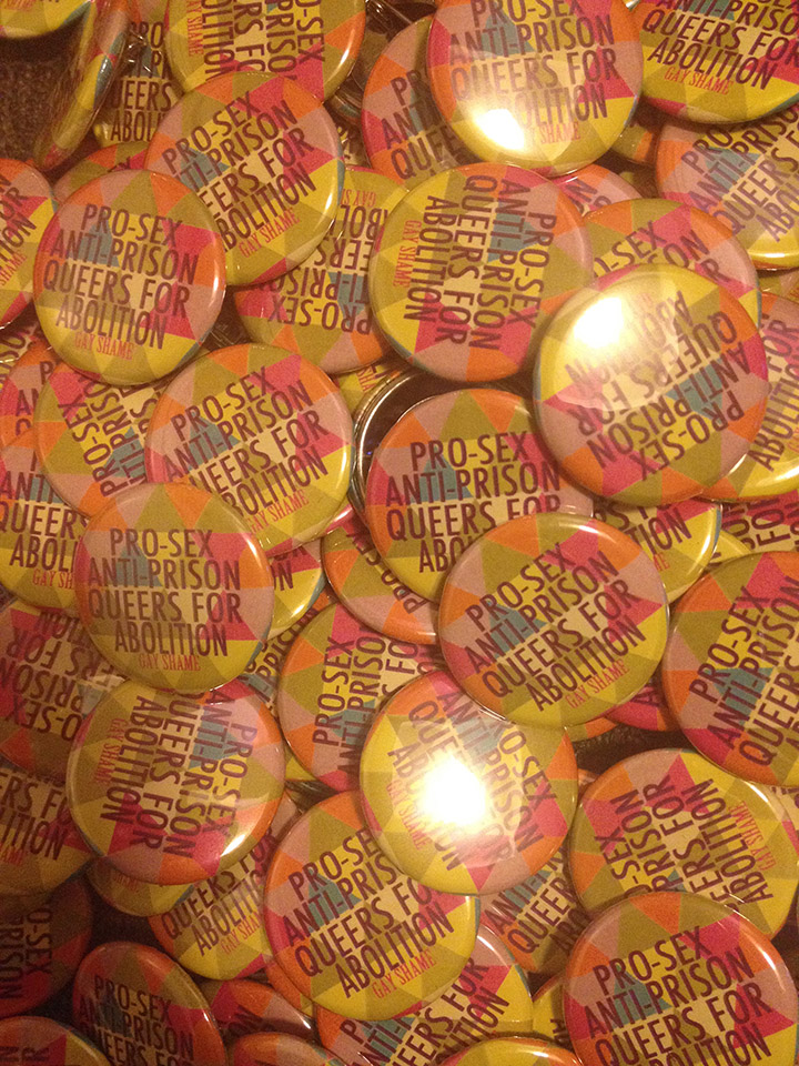 [image description: pile of buttons] pro-sex anti-prison queers for abolition