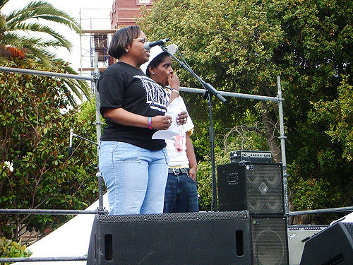 kimma walker and terrain dandridge on the stage of the san francisco dyke march in dolores park