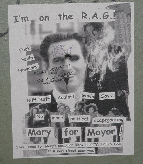 a pro-mary 4 mayor flyer by riff-raff against gavin