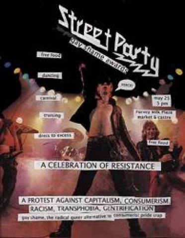 "flyer depicts glam rock band and reads: ""street party - gay shame awards - free food - dancing - carnival"