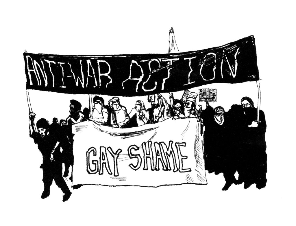 "drawing of photo of people gathered under banners reading ""anti-war action"" and ""gay shame"""