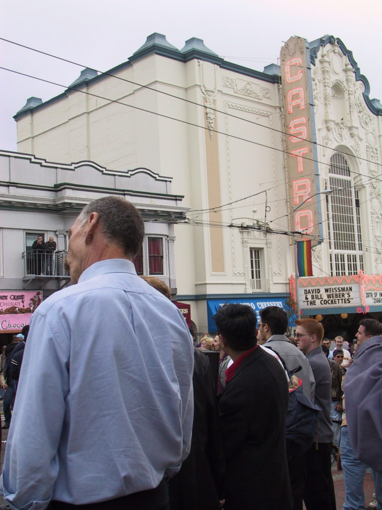 people begin to fill castro street at harvey milk plaza after the awards ceremony