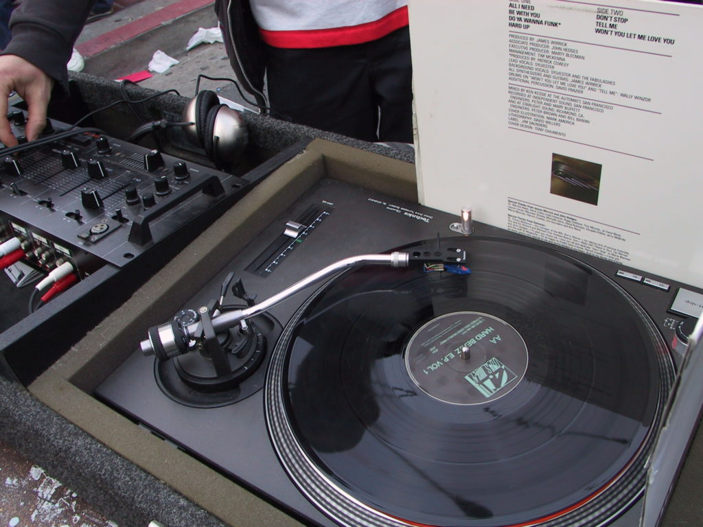 detail of the deejay's set up
