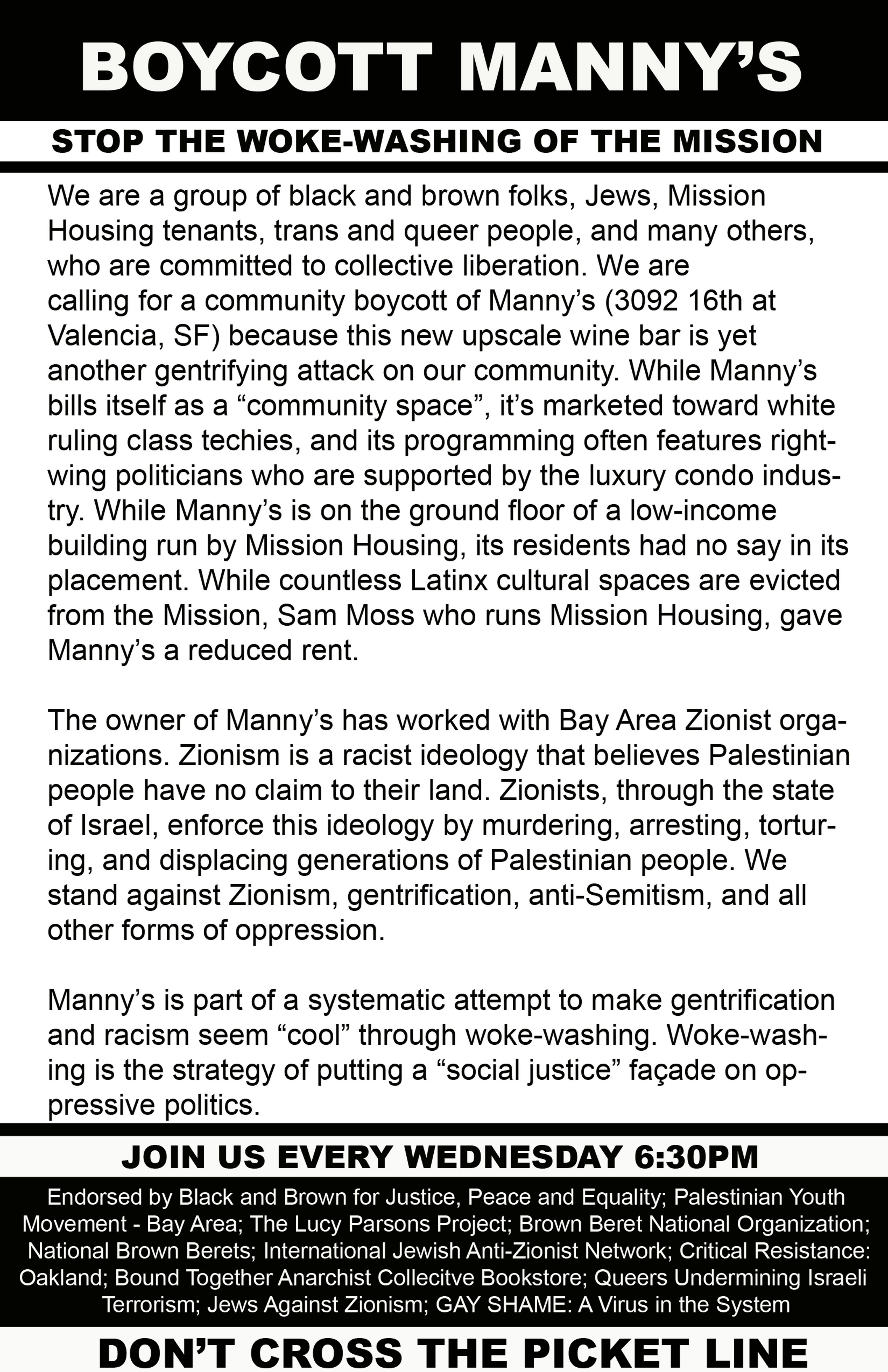 BOYCOTT MANNY'S 