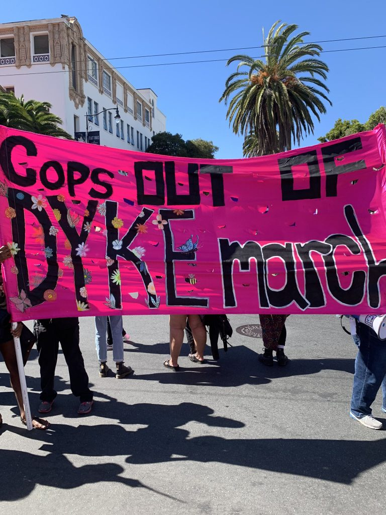 """people holding a bright pink banner that reads """"cops out of dyke march"""""""