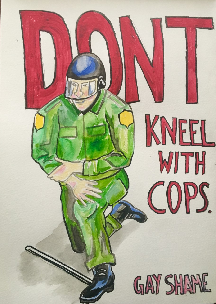 image of a cop kneeling with the words 'don't need kneel with the cops.'